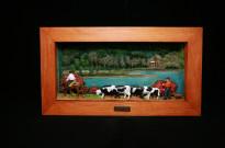 10040110 Quadro lagoa Furnas moldura madeira vacas